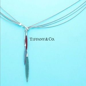Tiffany &Co Feather Collection Lariat 4 Strand 18k